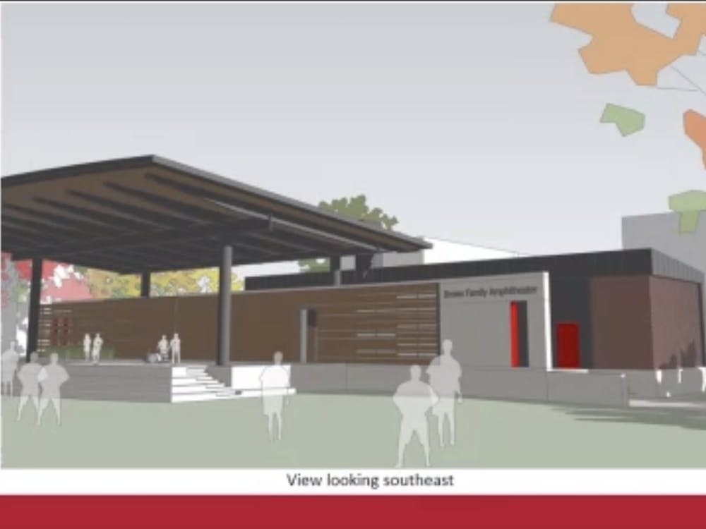 Jim Lowe, associate vice president for facilities and planning management, presents a slide showing a sketch model of the Brown Family Amphitheater at the Board of Trustees virtual meeting Dec. 11, 2020. The board approved a $3.15 million budget for the amphitheater's construction. Grace McCormick, Screenshot Capture