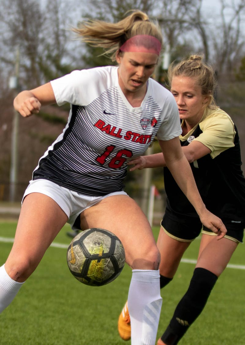 Senior forward Melissa Diceman stops the ball March 12, 2021, at Briner Sports Complex. The Cardinals tied at zero in double overtime against the Broncos. Jaden Whiteman, DN