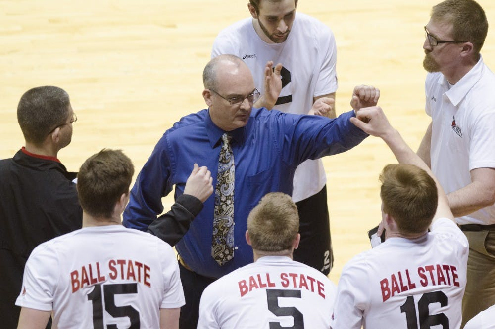 Head coach Joel Walton encourages his players during a time out in the second set against Ohio State on March 23 at Worthen Arena. Walton has been coaching for 16 seasons. DN PHOTO BREANNA DAUGHERTY