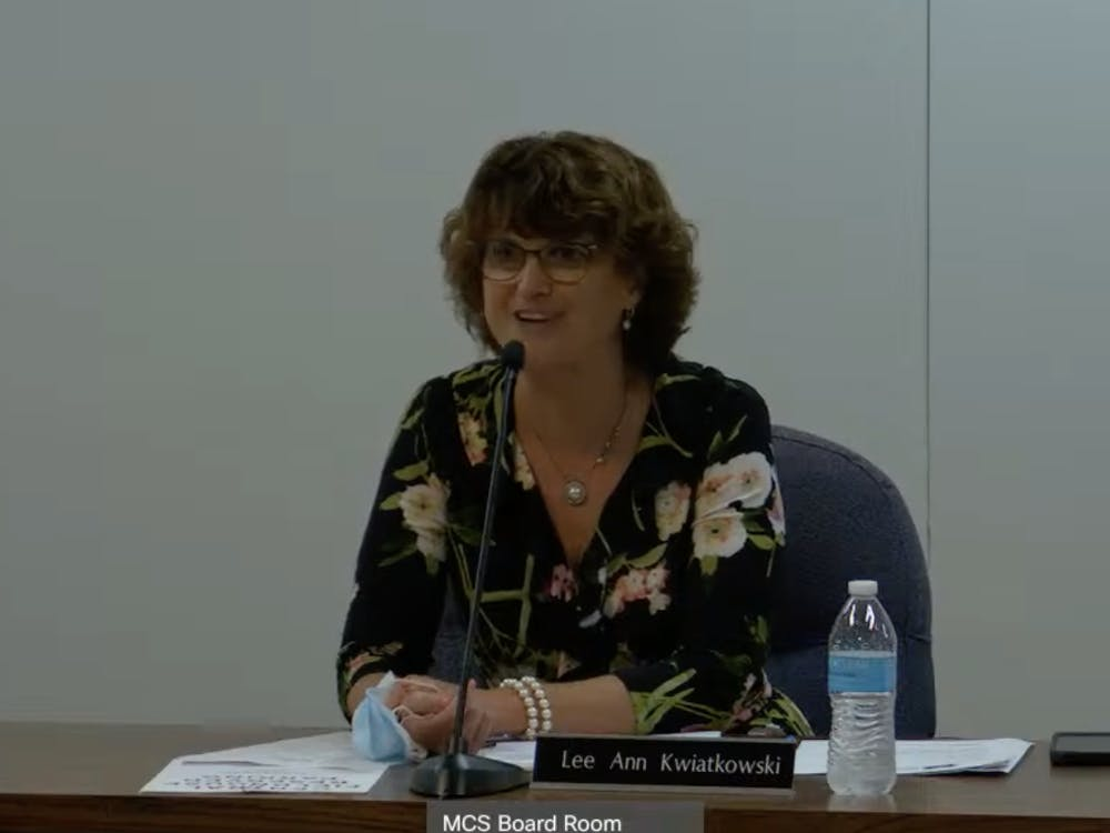 Lee Ann Kwiatkowski, Muncie Community Schools (MCS) Director of Public Education and CEO, gives the MCS Board of Trustees an update on school programs for the 2020-21 school year at the meeting May 25, 2021. Board members approved salary increases for all teachers, ranging from $2,400 to $5,200 annually. MCS YouTube page, Screenshot Capture