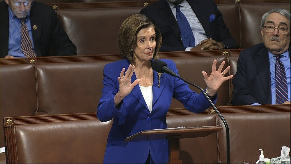 In this image from video, House Speaker Nancy Pelosi of Calif., speaks on the floor of the House of Representatives at the U.S. Capitol in Washington, Friday, March 27, 2020. (House Television via AP)