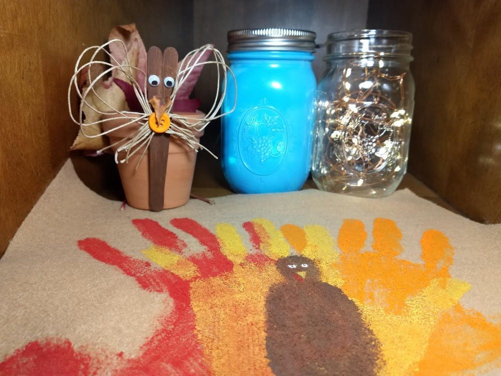 DIY crafts from Pinterest help decorate the family table for the holidays. Alyssa Cooper, DN.