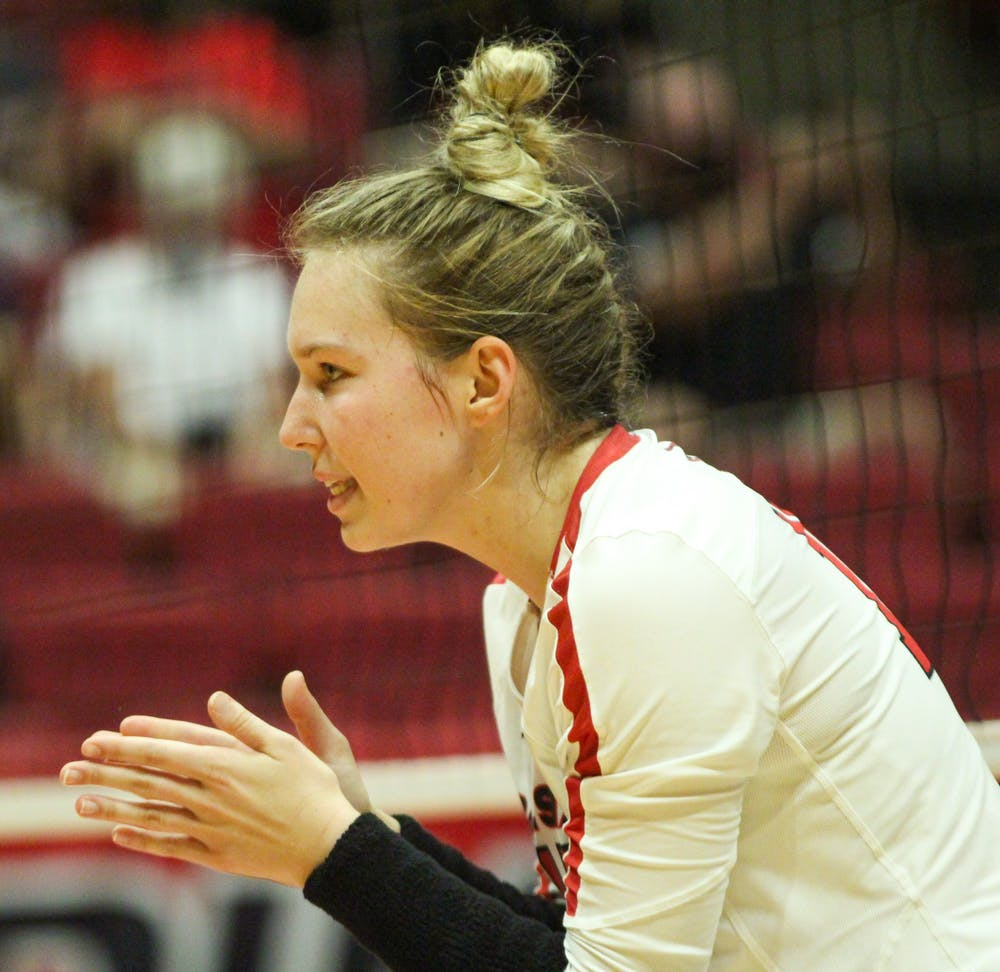 Freshman setter Megan Wielonski pumps up her teammates before the next point against Northern Kentucky at Worthen Arena Sept. 18. Wielonski has been a leader for Cardinals in her freshman season. Jacy Bradley, DN