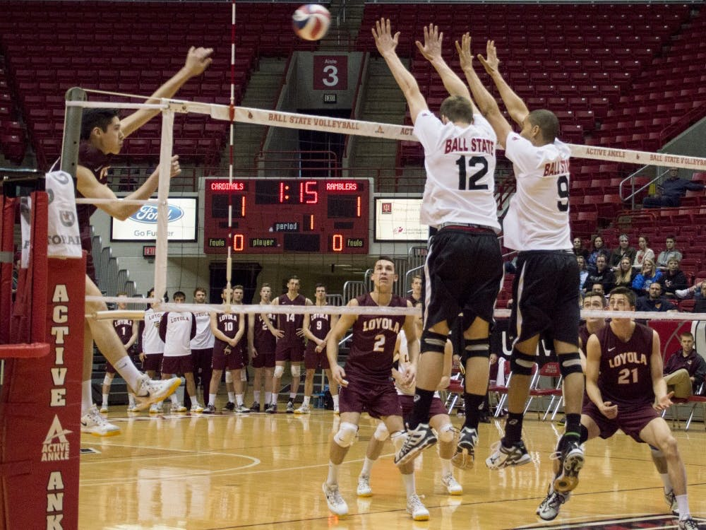 The Ball State men's volleyball team fell to No. 2 ranked Loyola in three sets during senior night on March 28 at Worthen Arena.