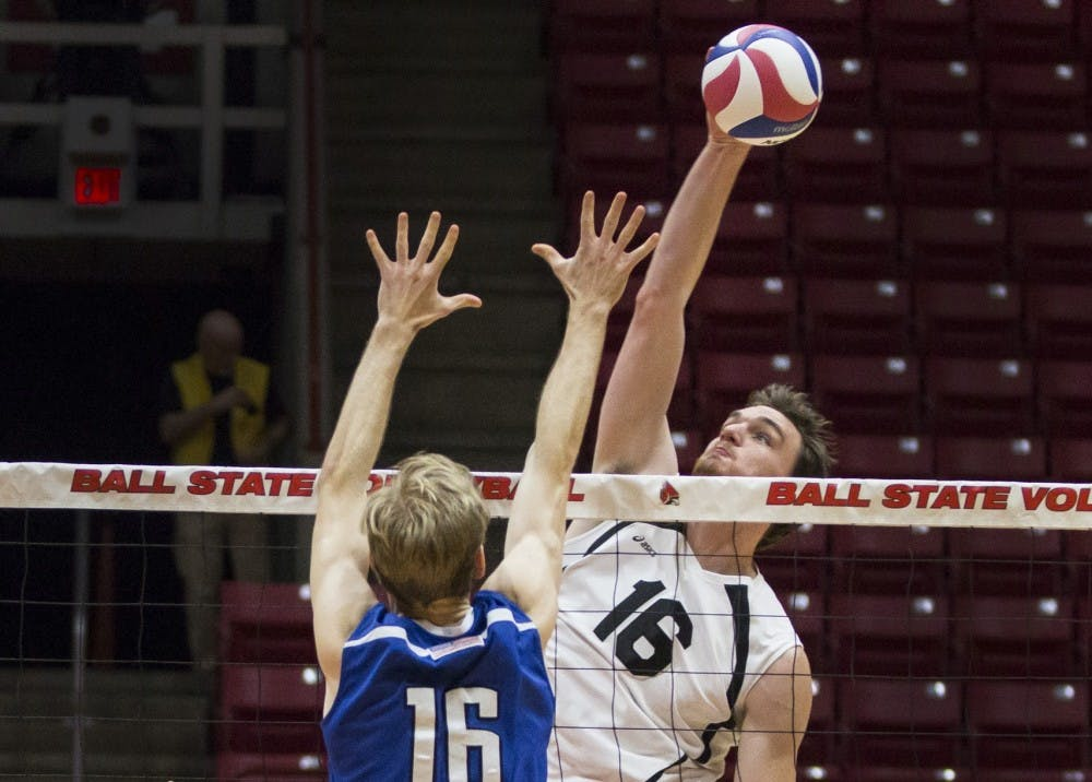 <p>Middle attacker Matt Walsh reaches for a kill in the second set against Fort Wayne at Worthen Arena on Feb. 7. The Cardinals won 3-0.&nbsp;Grace Hollars // DN File</p>