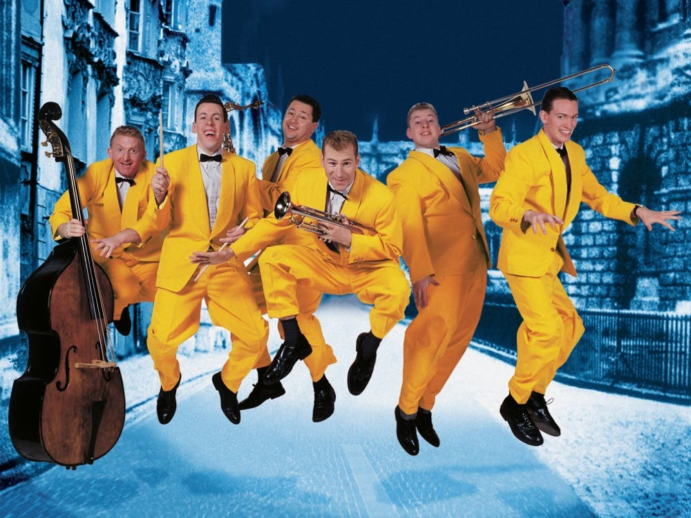 """The Jive Aces, asix-member band known as the U.K.'s top jive and swing band,will performat John. J.Pruis Hall on April 6 at 7:30 p.m. The Jive Acesmade it to the semi-finals of """"Britain's Got Talent,""""have performed at the2012 Olympics and Paralympics andwon the""""City of Derry International Music Award"""" in 2006.Jive Aces// Photo Provided"""