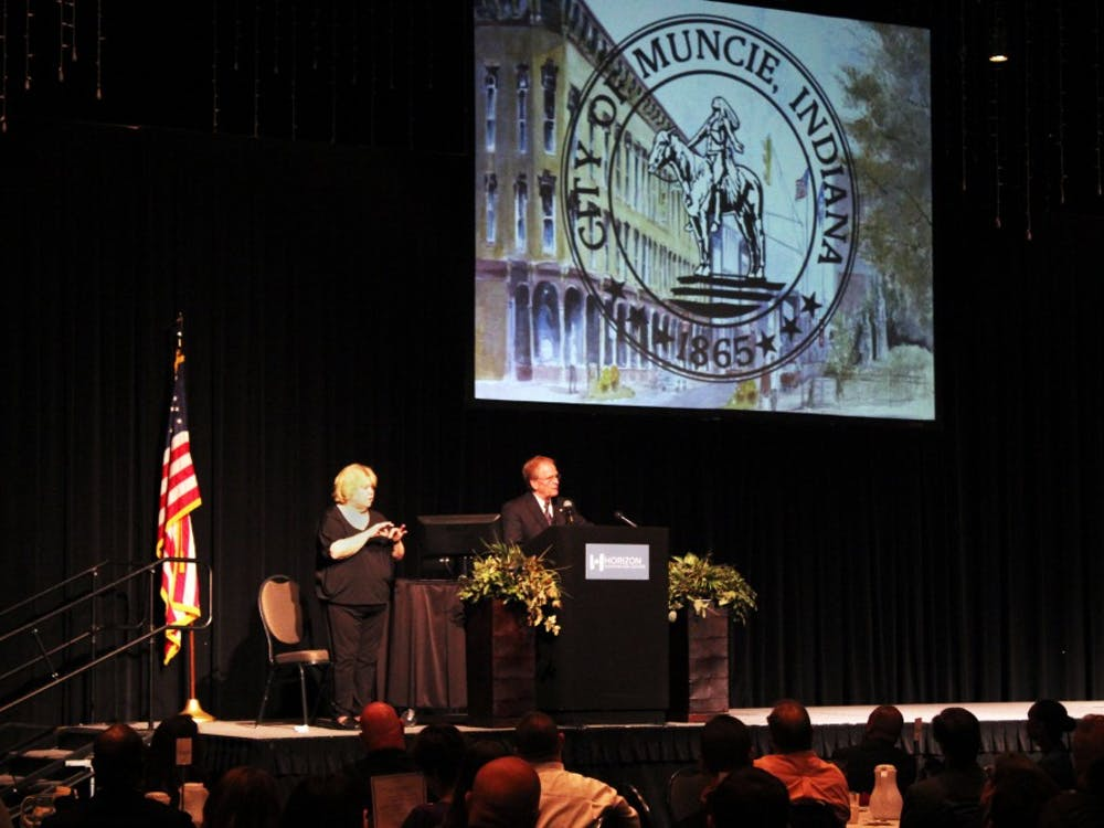 City of Muncie Mayor Dennis Tyler spoke to community members, officialsand students on Tuesday and gave his annual State of the City Address. He focusedon economic development, the drug epidemic, Muncie City Schools and other topics.Andrew Smith // DN