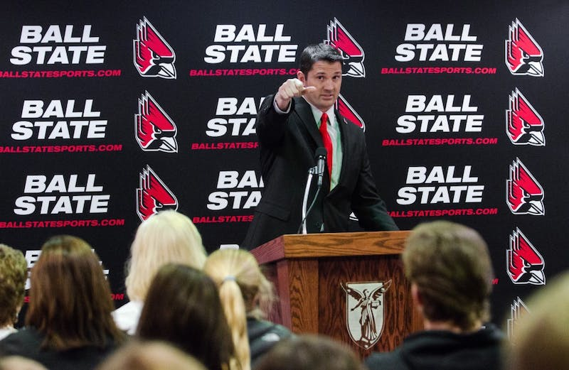 Mike Neu talking at his introductory press conference on Jan. 07.DN PHOTO BY BREANNA DAUGHERTY