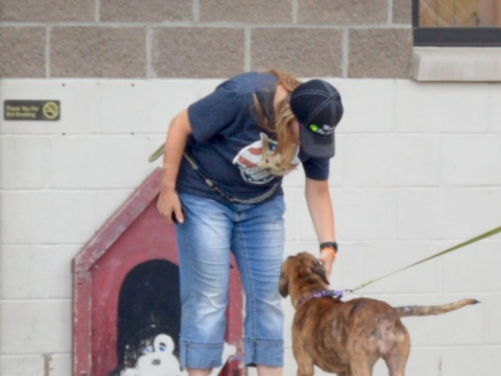 A Facebook film crew visited The Muncie Animal Shelter on July 18 to talk with volunteers as they walked dogs and played the mobile game Pokémon Go. DN PHOTO REBECCA KIZER