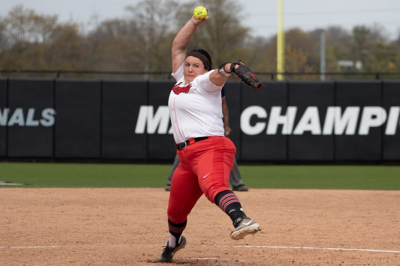 Ball State Cardinals graduate student pitcher Alyssa Rothwell pitches the ball on April 23, 2021, at the Softball Field at First Merchants Ballpark Complex. The Cardinals finished with a 4-2 victory over Ohio. Madelyn Guinn, DN