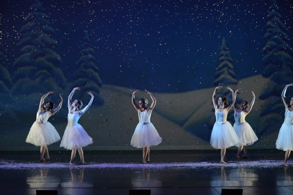 """Ball State students rehearse for the upcoming performance of """"The Nutcracker"""" Dec. 2, 2018. Choreographers and dancers rehearsed four days a week for three or more hours to perfect this ballet. Photo Provided, Sarah Jenkins."""