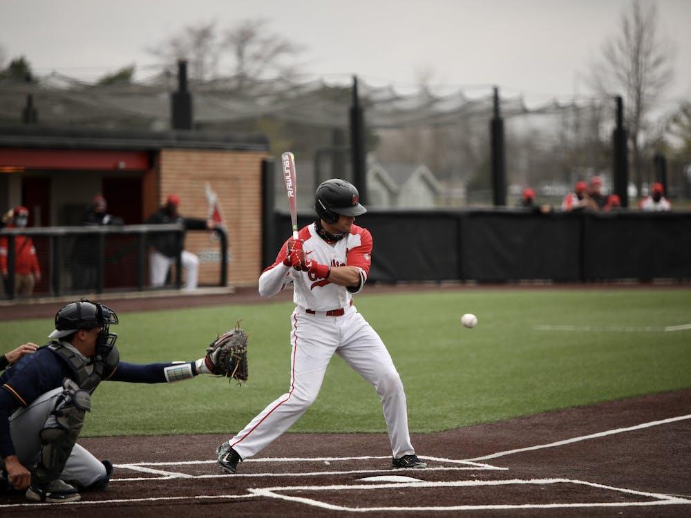 Junior second baseman Noah Navarro prepares to hit the ball March 26, 2021, at First Merchants Ballpark Complex. The Cardinals won 7-6 against the Rockets. Rylan Capper, DN