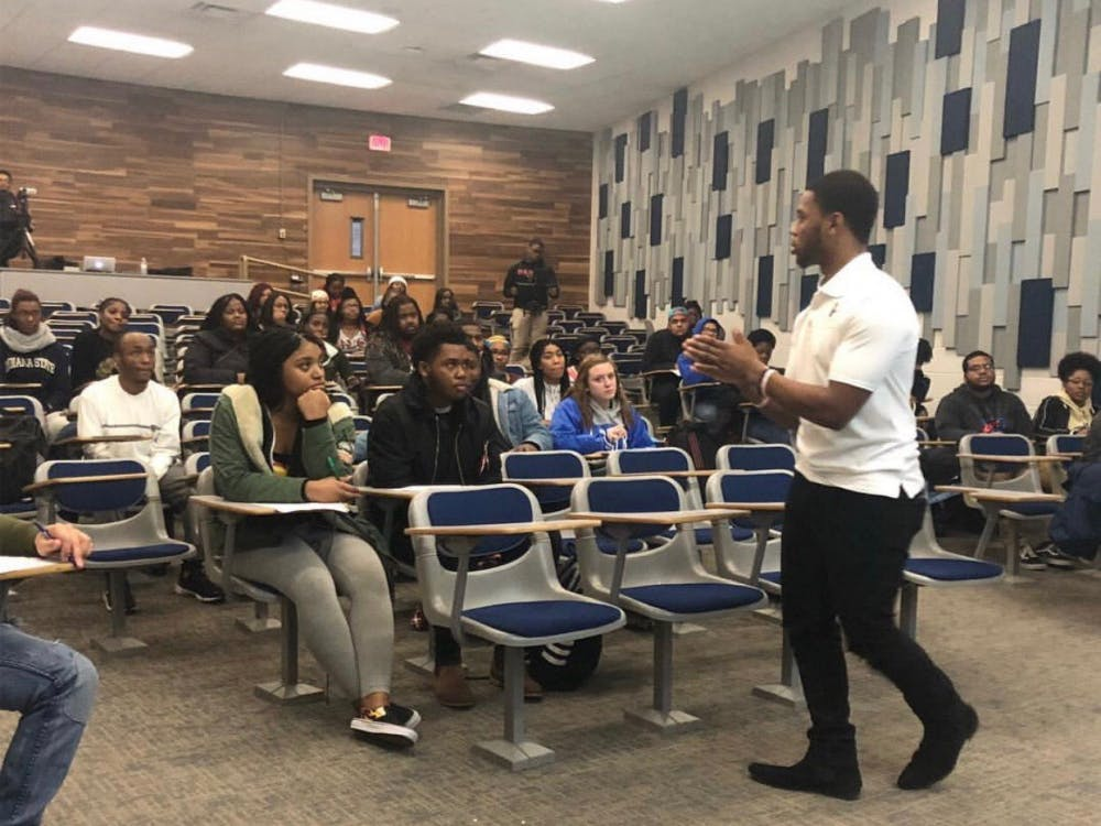 Ball State junior J. Lee speaks to a class about leadership. Lee has been promoting his brand and business, J. Lee Speaks and Associates, since June 2018. J. Lee, Photo Provided.