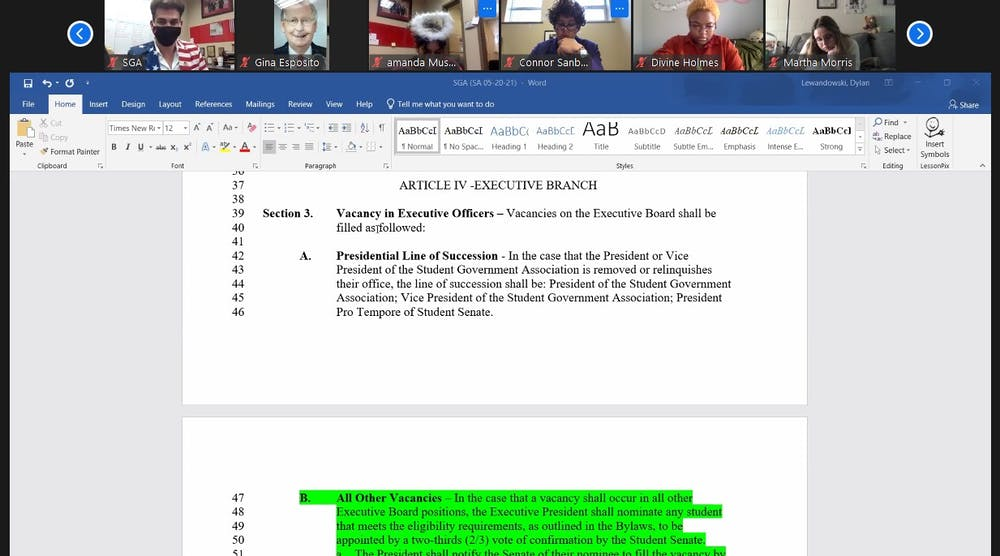 <p>SGA Senate looks at Senator James Wells&#x27; proposed amendment on filling vacancies and the line of succession at the Oct. 28 Zoom meeting. The amendment passed 46-0, with three abstentions. <strong>Maya Wilkins, Screenshot Capture</strong></p>
