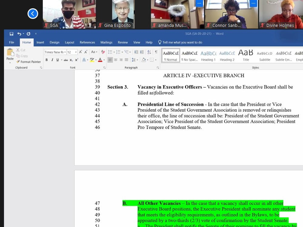 SGA Senate looks at Senator James Wells' proposed amendment on filling vacancies and the line of succession at the Oct. 28 Zoom meeting. The amendment passed 46-0, with three abstentions. Maya Wilkins, Screenshot Capture