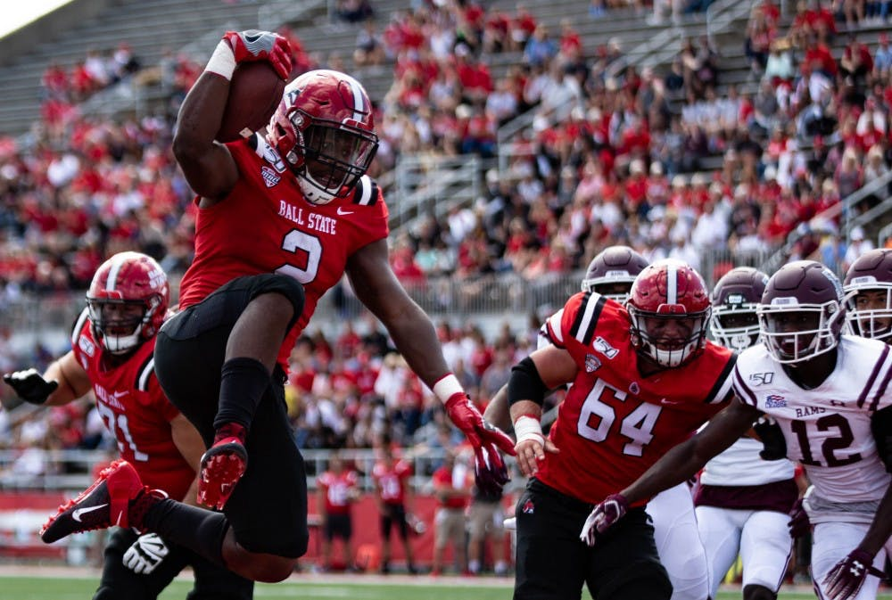 <p>Junior running back Caleb Huntley jumps in the end zone after scoring in the third quarter Sept. 7, 2019, at Scheumann Stadium. The Cardinals won against Fordham, 57-29. <strong>Rebecca Slezak, DN</strong></p>