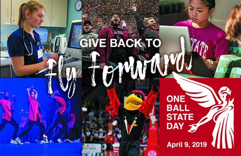 The first annual One Ball State Day being held April 9, 2019. One Ball State Day is a 24-hour online fundraiser with events scheduled throughout the day in the lobby of David Letterman Communication and Media Building. Stormie Kirby, Photo Provided
