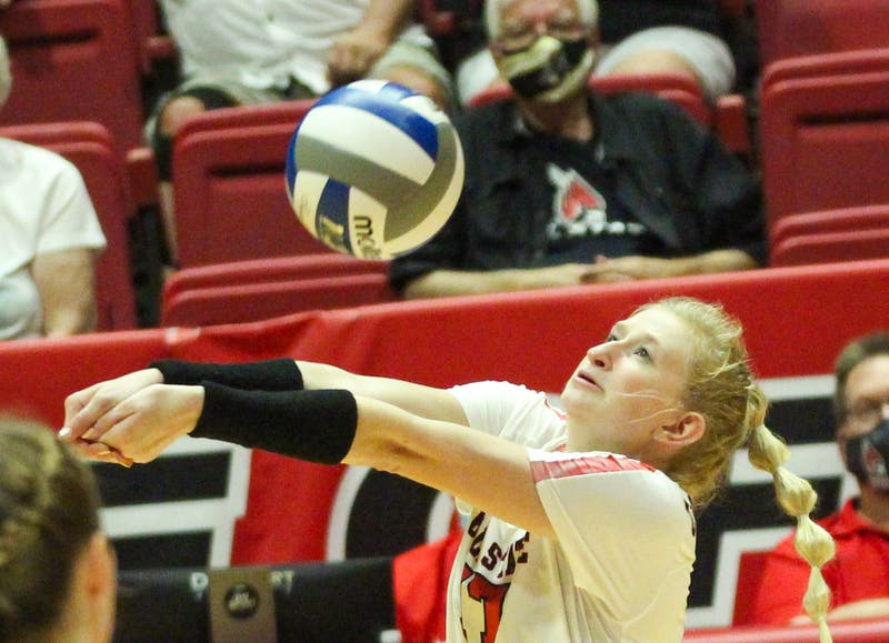 5th year outside hitter Jaclyn Bulmahn digs the ball to get the play going against Northern Kentucky in Worthen Arena Sept. 17. The Cardinals are 9-2 for the season after beating Northern Kentucky in three sets. Jacy Bradley, DN