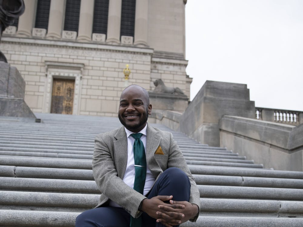 "Aaron Paige, assistant professor of music, poses for a photo March 28, 2021, at the Indiana War Memorial in Indianapolis. As a musician, Paige said he wants to always elevate and push the boundaries of his art. As a professor, Paige said he wants his students to have that same ""hunger"" for change as he does. Jacob Musselman, DN"