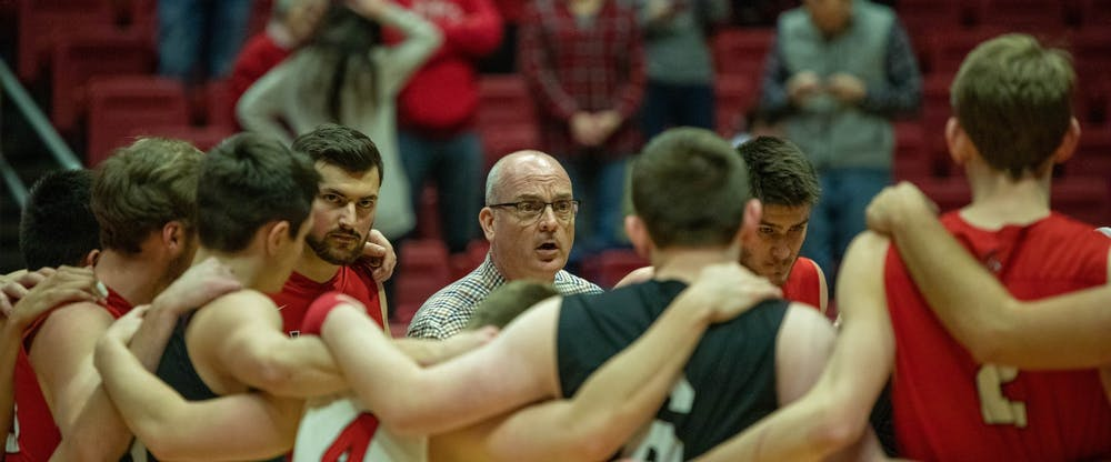Ball State Head coach Joel Walton talks with his team after winning Feb. 8, 2020, at John E. Worthen Arena. Ball State's men's volleyball team brought the game back from being over 5 points behind into overtime. Joshua Smith, DN