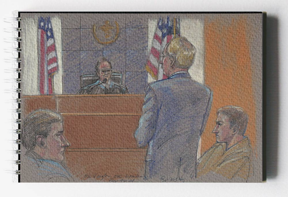 <p>A court sketch, seen above, of the federal trial of Timothy McVeigh after the 1995 Oklahoma City bombing. McVeigh and co-conspirator Terry Nichols were tried separately and each convicted of multiple federal offenses. <strong>Library of Congress, Illustration Courtesy</strong></p>