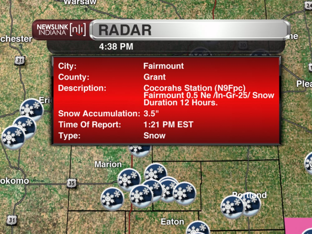 "Snowfall report of 3.5"" from Fairmount in Grant County."