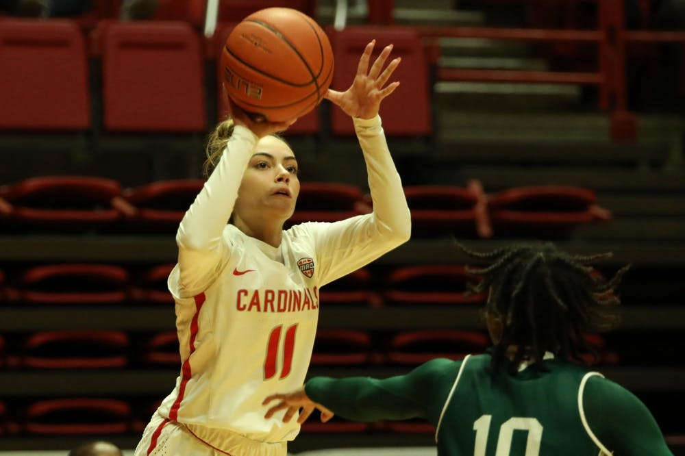<p>Ball State Cardinals sophomore guard Sydney Freeman shoots a three-pointer in the fourth quarter in a game against the Eastern Michigan Eagles Dec. 2, 2020, at John E. Worthen Arena. The Cardinals lost to the Eagles 77-58. <strong>Jacob Musselman, DN</strong></p>