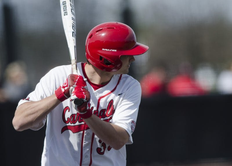 Senior outfielder Matt Eppers waits for a pitch during the game against Ohio University on April 2 at the First Merchants Ballpark Complex. Ball State lost 10-0, bringing the Cardinals losing streak to eight games in a row. Emma Rogers // DN