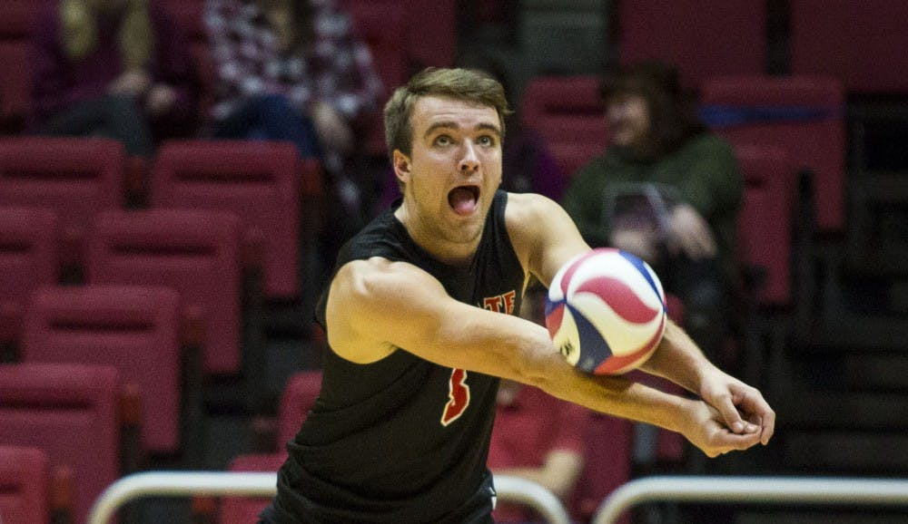 <p>Sophomore outside hitter Blake Reardon, receives a serve from a Harvard player during the beginning of the third set, Jan. 20 at John E. Worthen Area. <strong>Grace Hollars, DN File</strong></p>