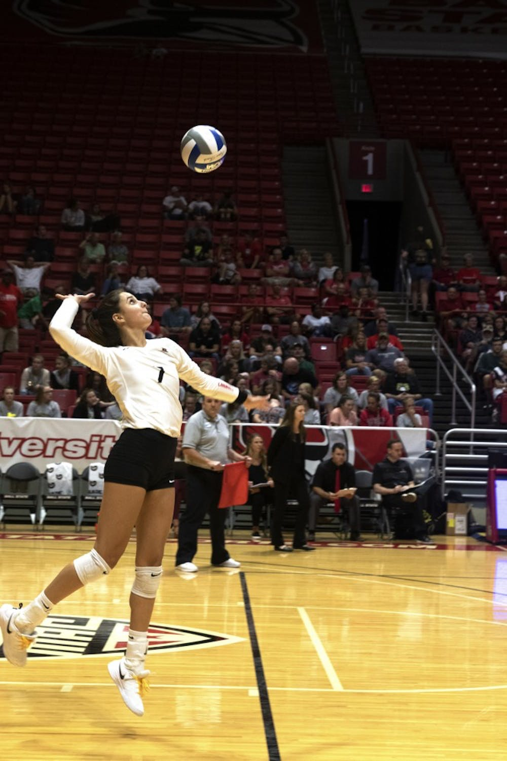 <p>Freshman outside hitter, Natalie Risi (7), serves the ball during the first set of their match against Austin Peay on September 20, 2019, at Worthen Arena. Ball State won the match 3-0. <strong>Jaden Whiteman, DN</strong></p>