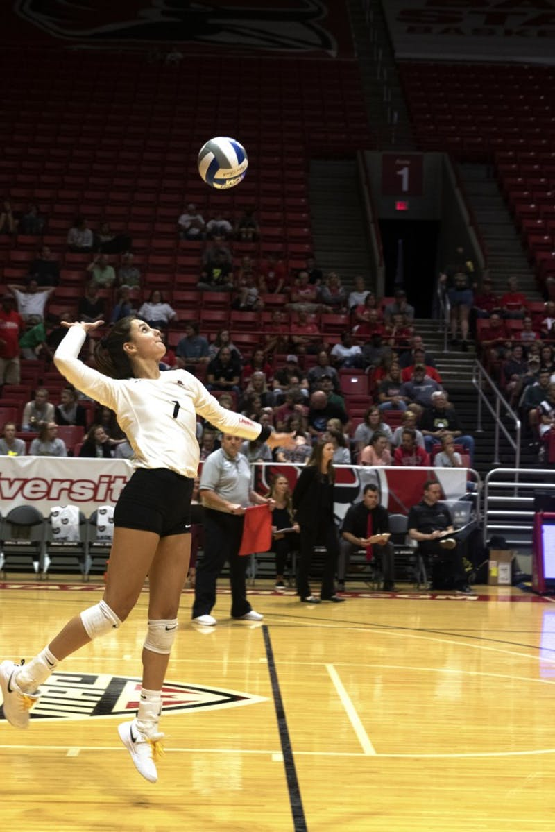 Freshman outside hitter, Natalie Risi (7), serves the ball during the first set of their match against Austin Peay on September 20, 2019, at Worthen Arena. Ball State won the match 3-0. Jaden Whiteman, DN