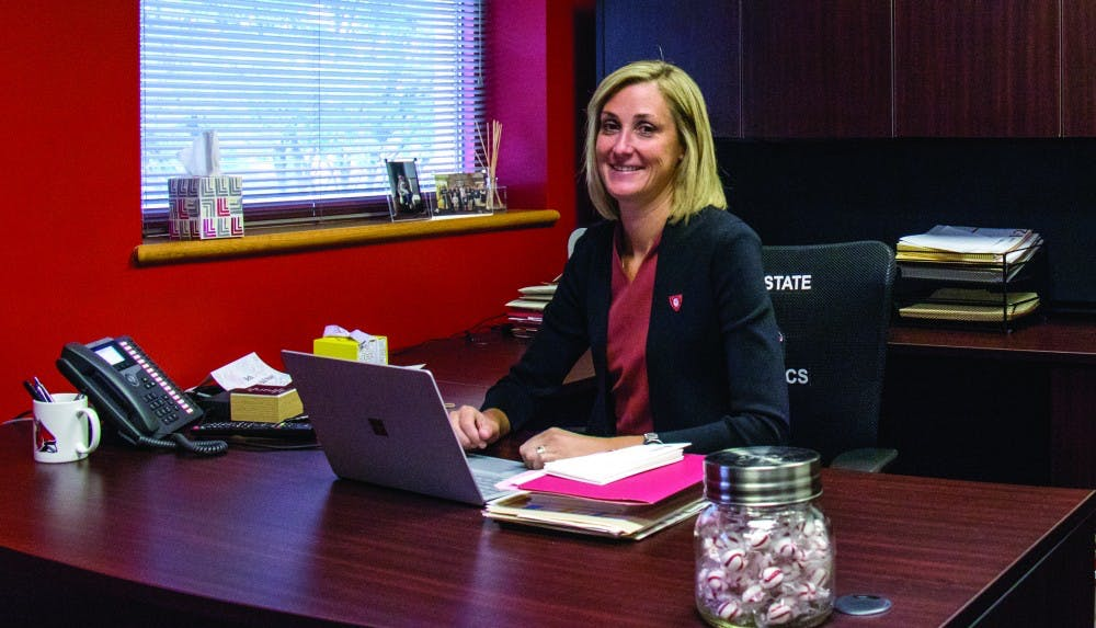 Director of Athletics Beth Goetz in her office at the Health and Physical Activity Building. Eric Pritcht, DN
