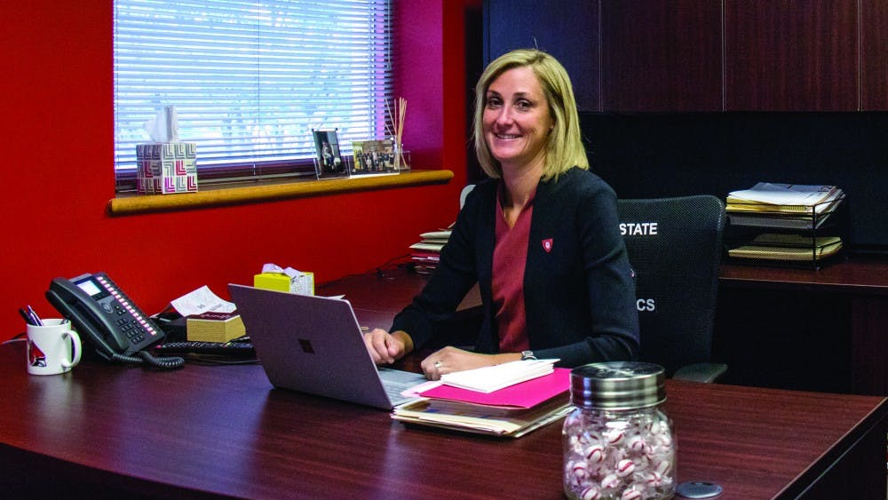 Director of Athletics Beth Goetz in her office at the Health and Physical Activity Building. Eric Pritchett, DN File