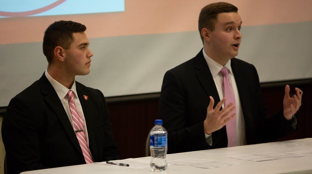 Aiden Medellin, presidential candidate of Elevate and Cameron DeBlasio, vice presdential candidate of Elevate, speak at the Presidential and Vice Presidential Debate Feb. 14, 2019 in the Art and Journalism Building. Elevate was one of three slates nominated for the 2019 Student Government Association Election. Scott Fleener, DN
