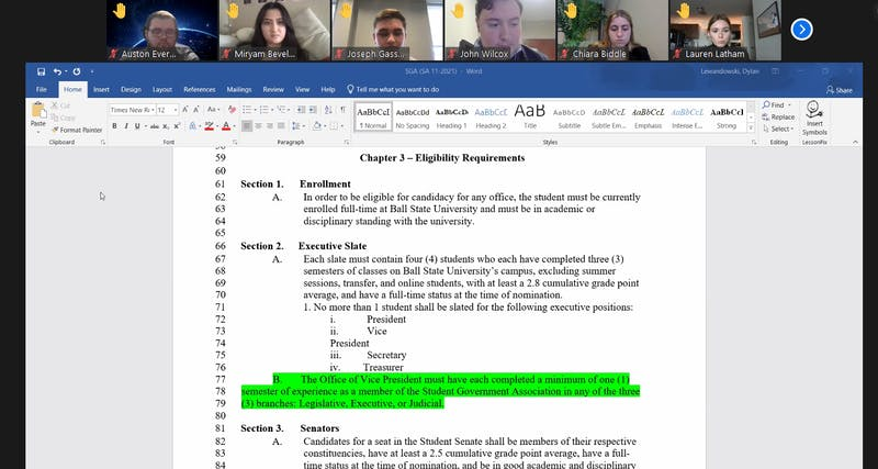 Ball State SGA senators debate the amendment regarding eligibility requirements for president and vice president candidates at the Feb. 10 Zoom meeting. The amendment failed 6-25, with four abstentions. Maya Wilkins, Screenshot Capture