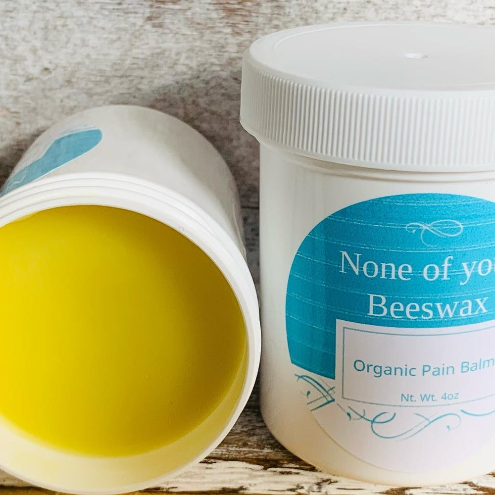 Cynthia Gualtney offers an organic pain balm at her health and beauty small business None of Your Beeswax. Her organic pain balm is infused with coconut oil, magnesium, cayenne pepper, peppermint and essential oils. Cynthia Gaultney, Photo Provided