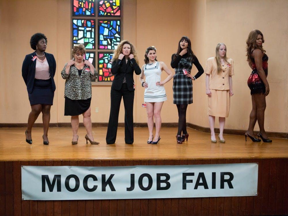 (L-R) Danielle Brooks, Lin Tucci, Natasha Lyonne, Yael Stone, Jackie Cruz, Emma Myles and Laverne Cox in a scene from Netflix