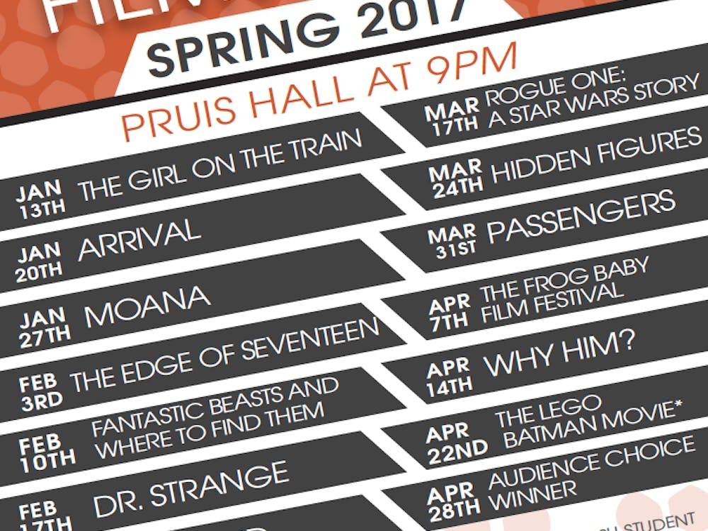 The University Program Board will host a new lineup of movies to be shown in Pruis Hall each week this spring. The films, shown on Fridays at 9 p.m., are free for students and $1 for guests.Scott Carrico // Photo Provided