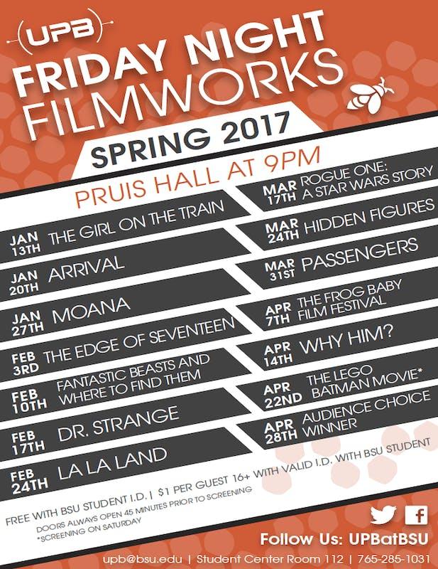 Friday Night Filmworks spring schedule released