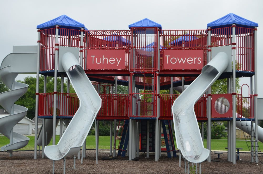 <p>This 2015 file photo shows playground equipment called Tuhey Towers located at Tuhey Park. Muncie Parks Department Superintendent Carl Malone shared the Parks Department's plans for summer 2020. <strong>Mikaela Maranhas, DN File</strong></p>