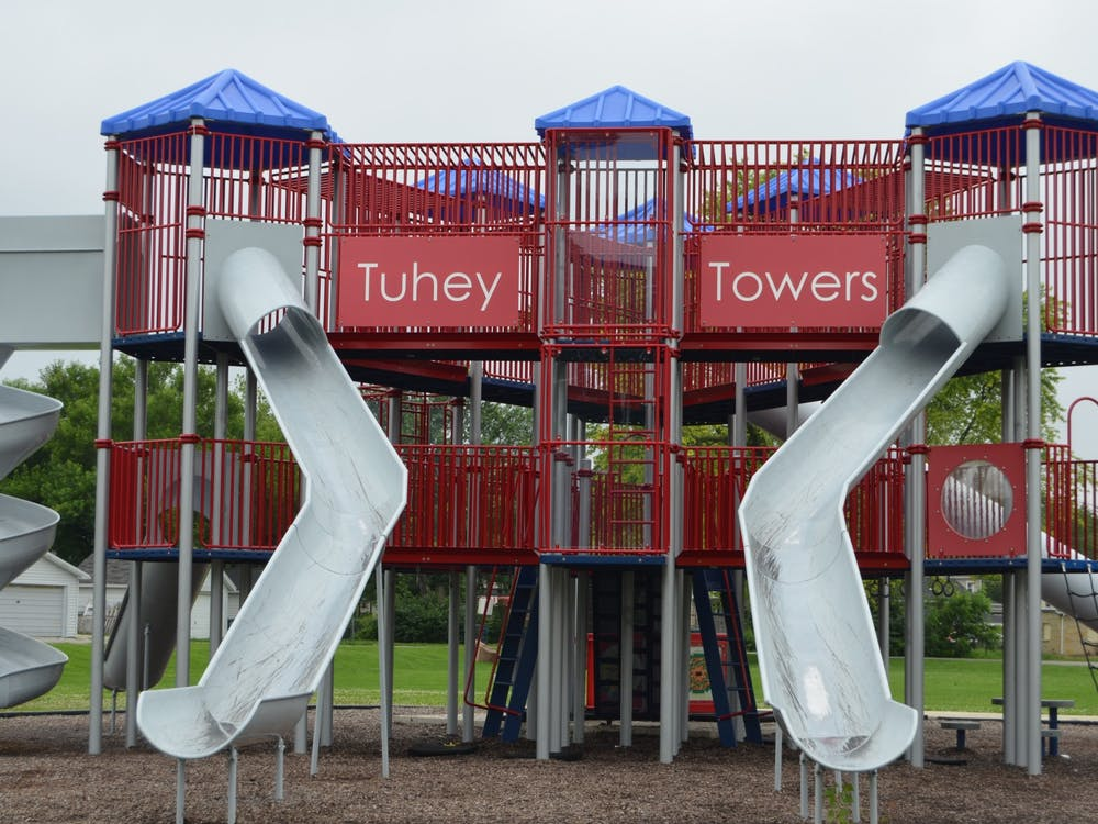 This 2015 file photo shows playground equipment called Tuhey Towers located at Tuhey Park. Muncie Parks Department Superintendent Carl Malone shared the Parks Department's plans for summer 2020. Mikaela Maranhas, DN File