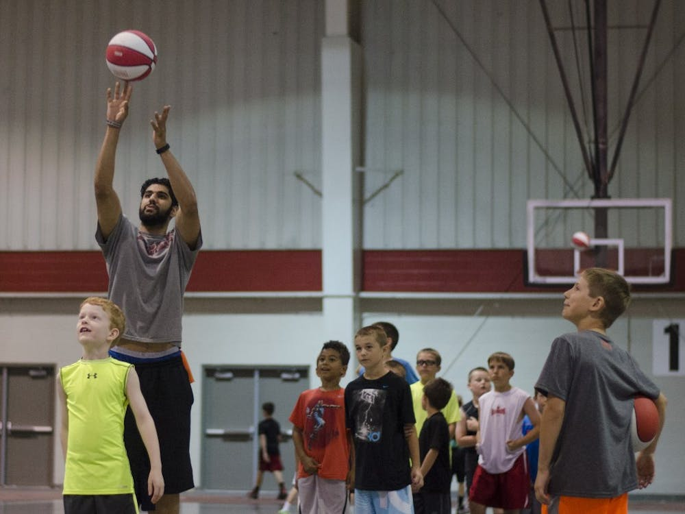 Children participated in the boys basketball camp with the Ball State men's basketball team. The camp is meant to help young players improve their skills and technique.
