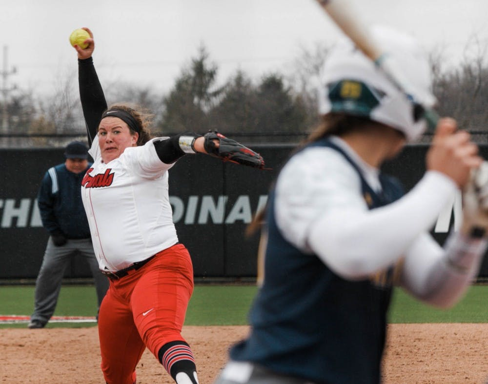 <p>Sophomore Alyssa Rothwell throws a strike during the Ball State verses Kent State game April 6 at the Softball Fields in First Merchants Ballpark Complex. <strong>Carlee Ellison, DN</strong></p>