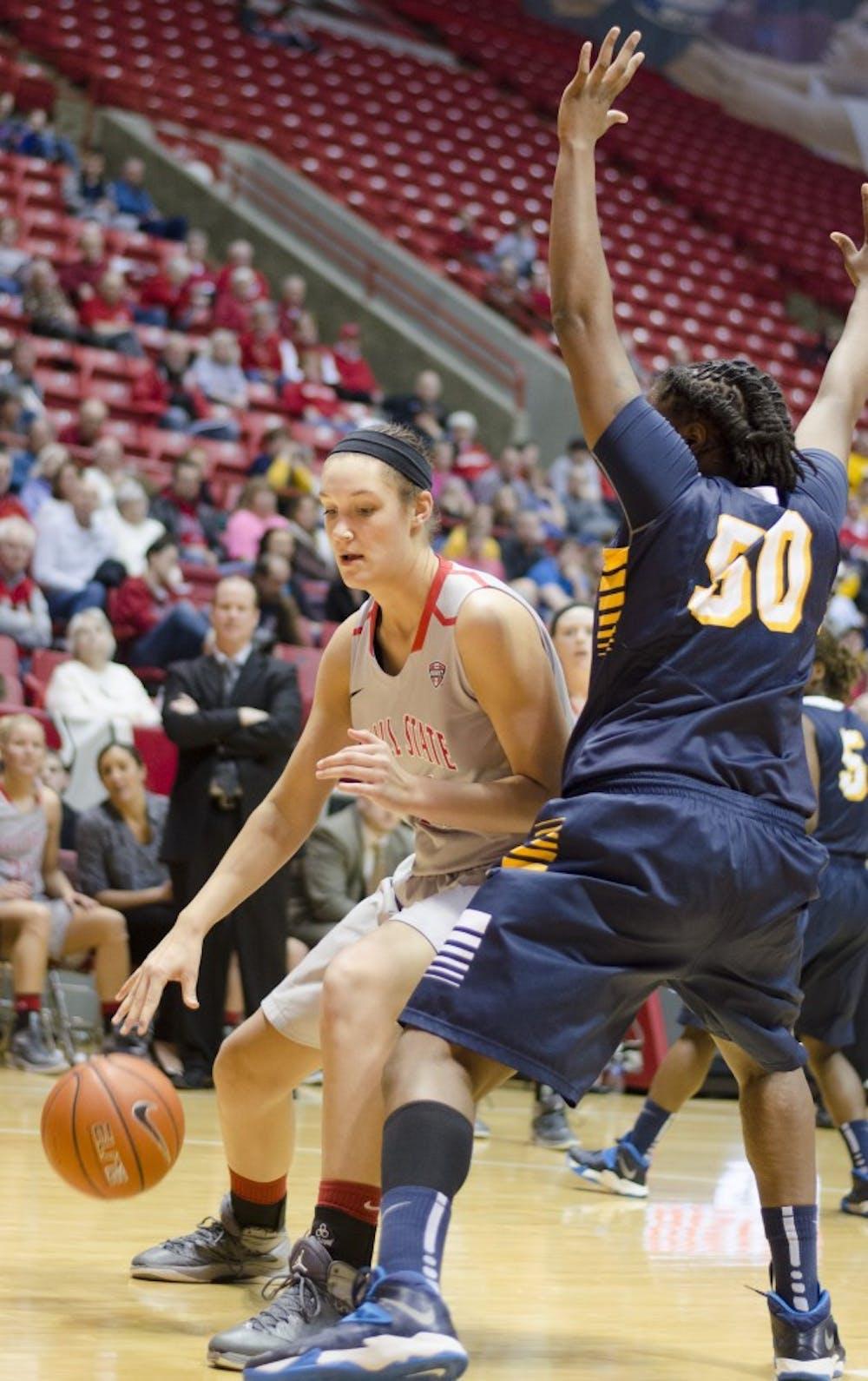 Freshman center Renee Bennett tries to get past a Toledo player on March 8 at Worthen Arena. Bennett scored six points. DN PHOTO BREANNA DAUGHERTY