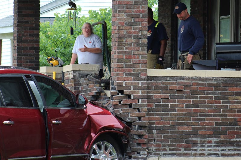 A multi-car collision in the area of North Cherry and West Main streets caused one car to collide with a home. The crash occurred after one car ran a stop sign. Only minor injuries were sustained. Brynn Mechem, DN