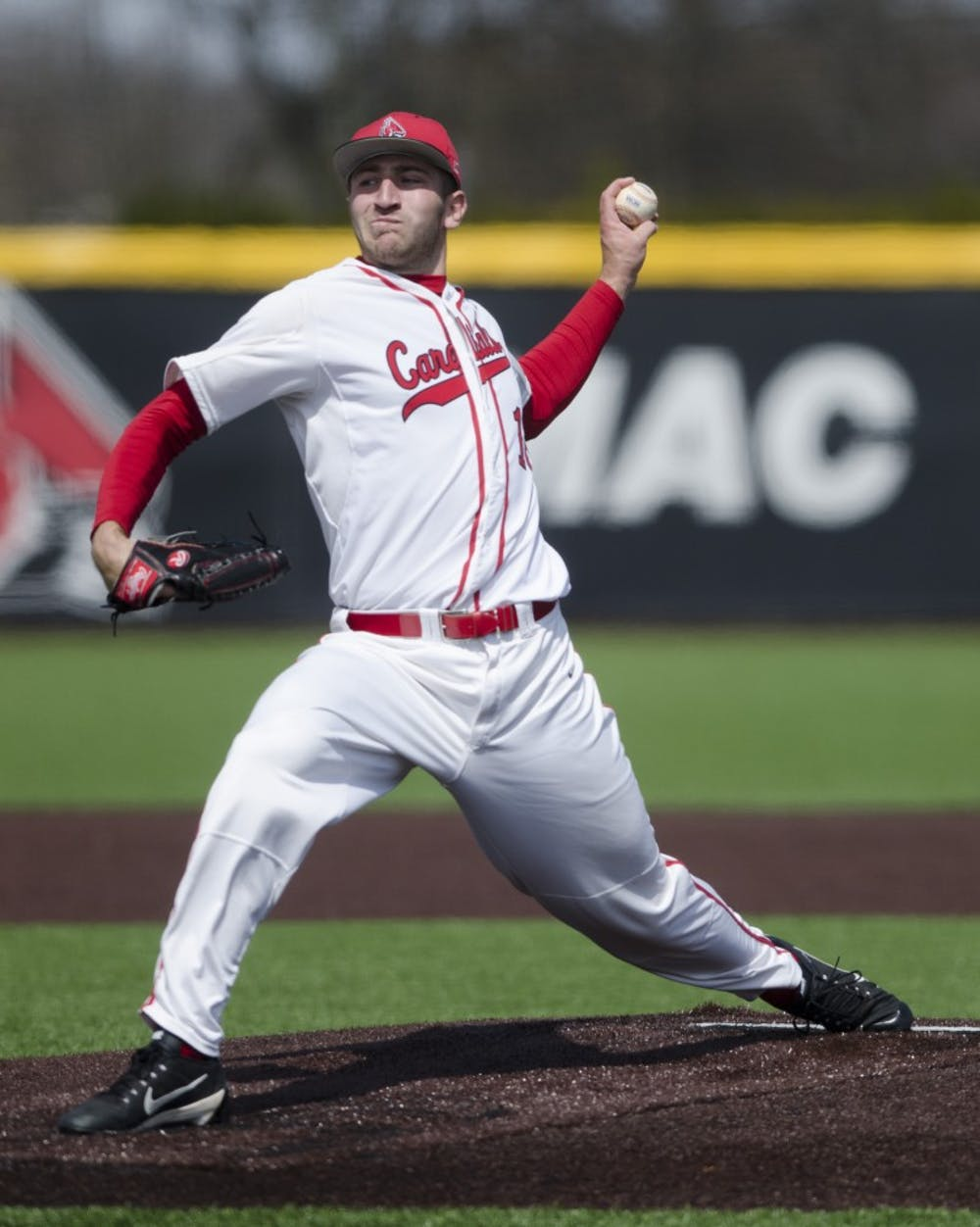 Senior pitcher Kevin Marnon pitches the ball during the game against Ohio University on April 2 at the First Merchants Ballpark Complex. Ball State lost 10-0, bringing the Cardinals losing streak to eight games in a row. Emma Rogers // DN