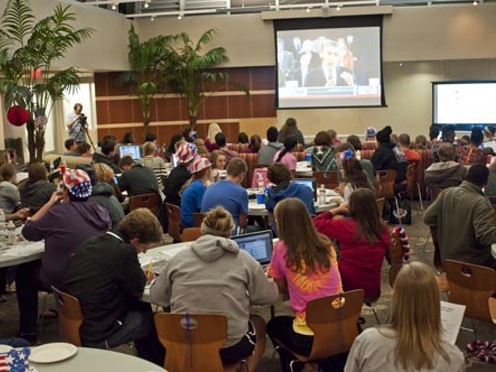 Students gather in DeHority Complex to watch one of the presidential debates of the last election on Oct. 16. One month after the election, students are wondering how much of an influence their votes had. DN FILE PHOTO JONATHAN MIKSANEK