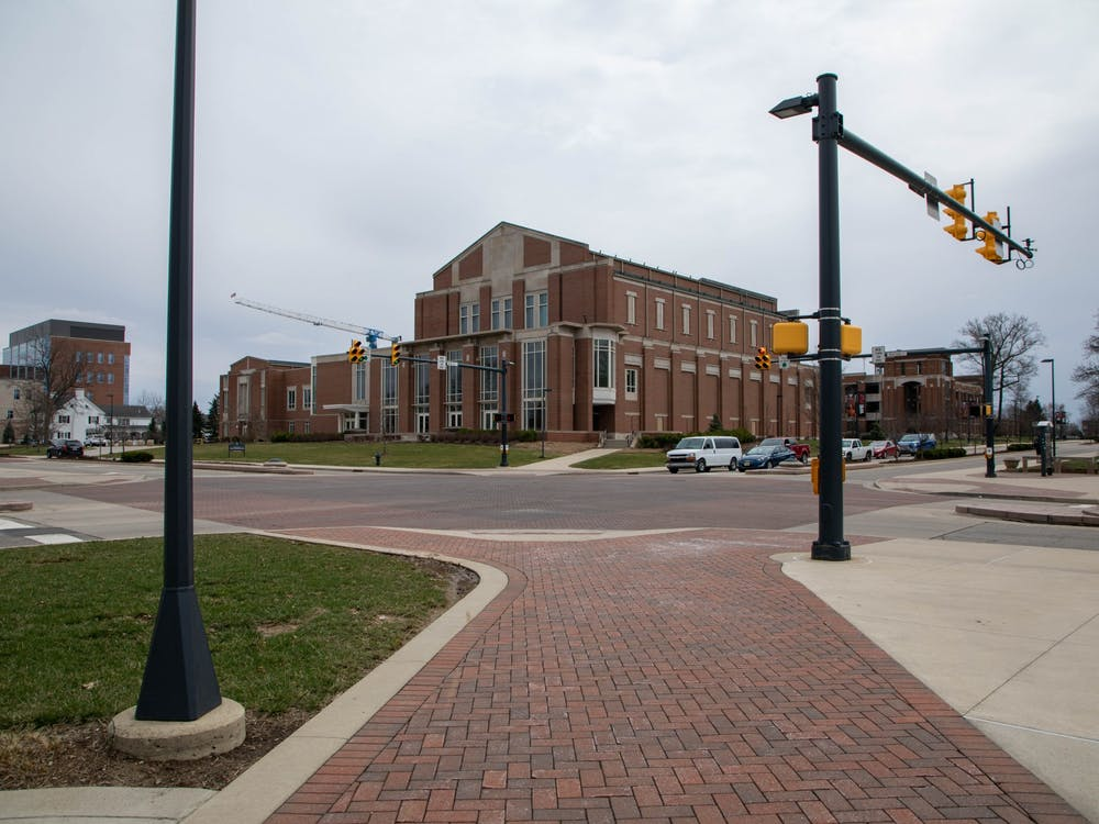 The Scramble Light remains empty 3 p.m. March 16, 2020, on Ball State's campus. President Geoffrey Mearns announced classes would be online for the remainder of the spring semester, and dorms will close March 29. Jaden Whiteman, DN