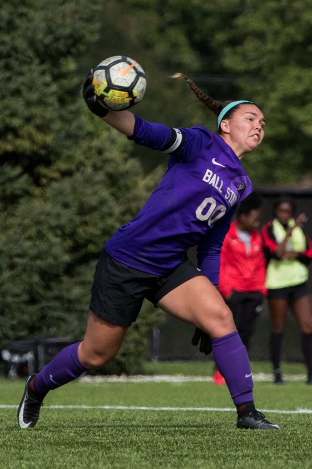 <p>Goalkeeper Tristin Stuteville throws the ball to a Ball State teammate after stopping an attempted goal by Buffalo in the first half of the game Oct. 14, 2018, at Briner Sports Complex. The Cardinals defeated the Bulls, 1-0. <strong>Eric Pritchett, DN</strong></p>
