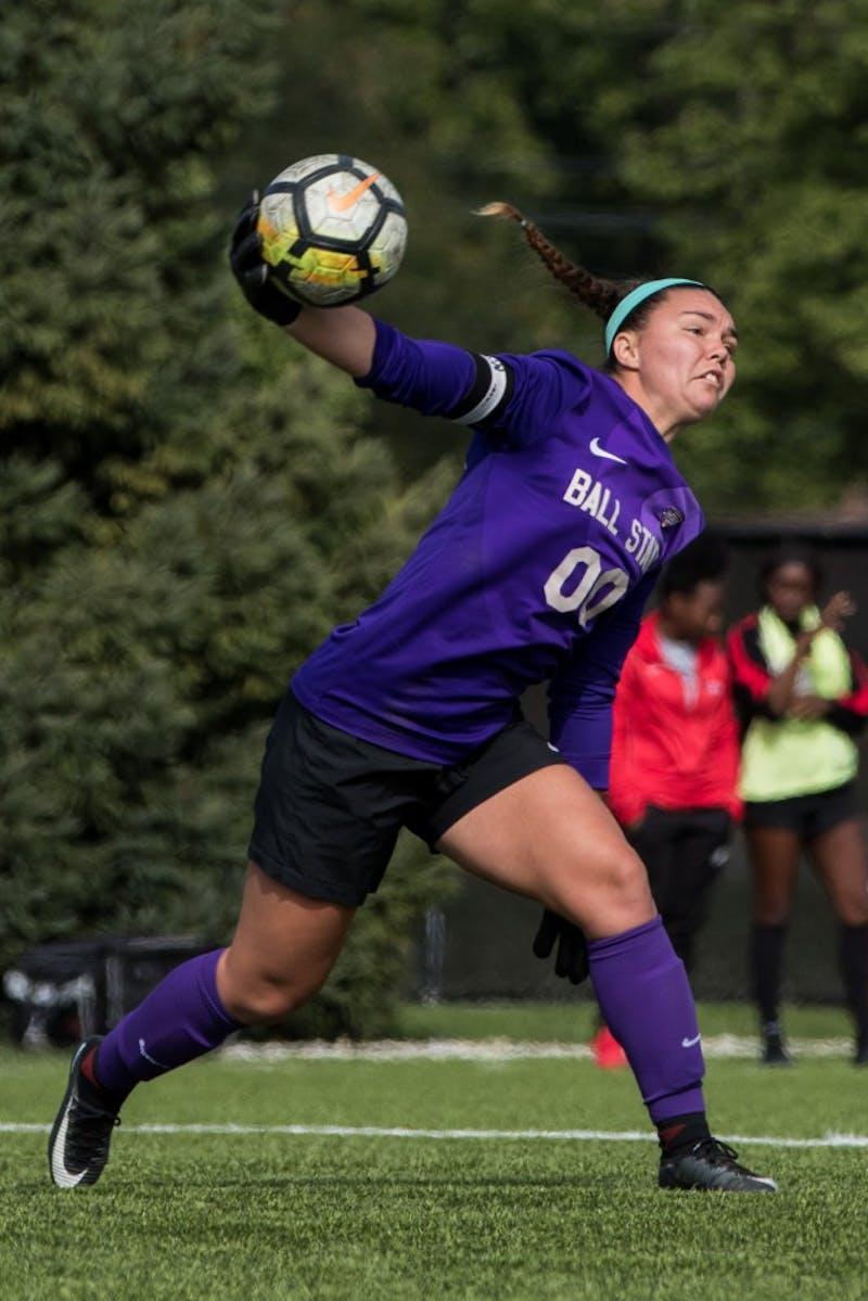 Goalkeeper Tristin Stuteville throws the ball to a Ball State teammate after stopping an attempted goal by Buffalo in the first half of the game Oct. 14, 2018, at Briner Sports Complex. The Cardinals defeated the Bulls, 1-0. Eric Pritchett, DN
